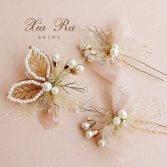 Shayla korean handmade beaded 3 piece champagne color bridal headdress flower head flower hairpin hairpin - intl