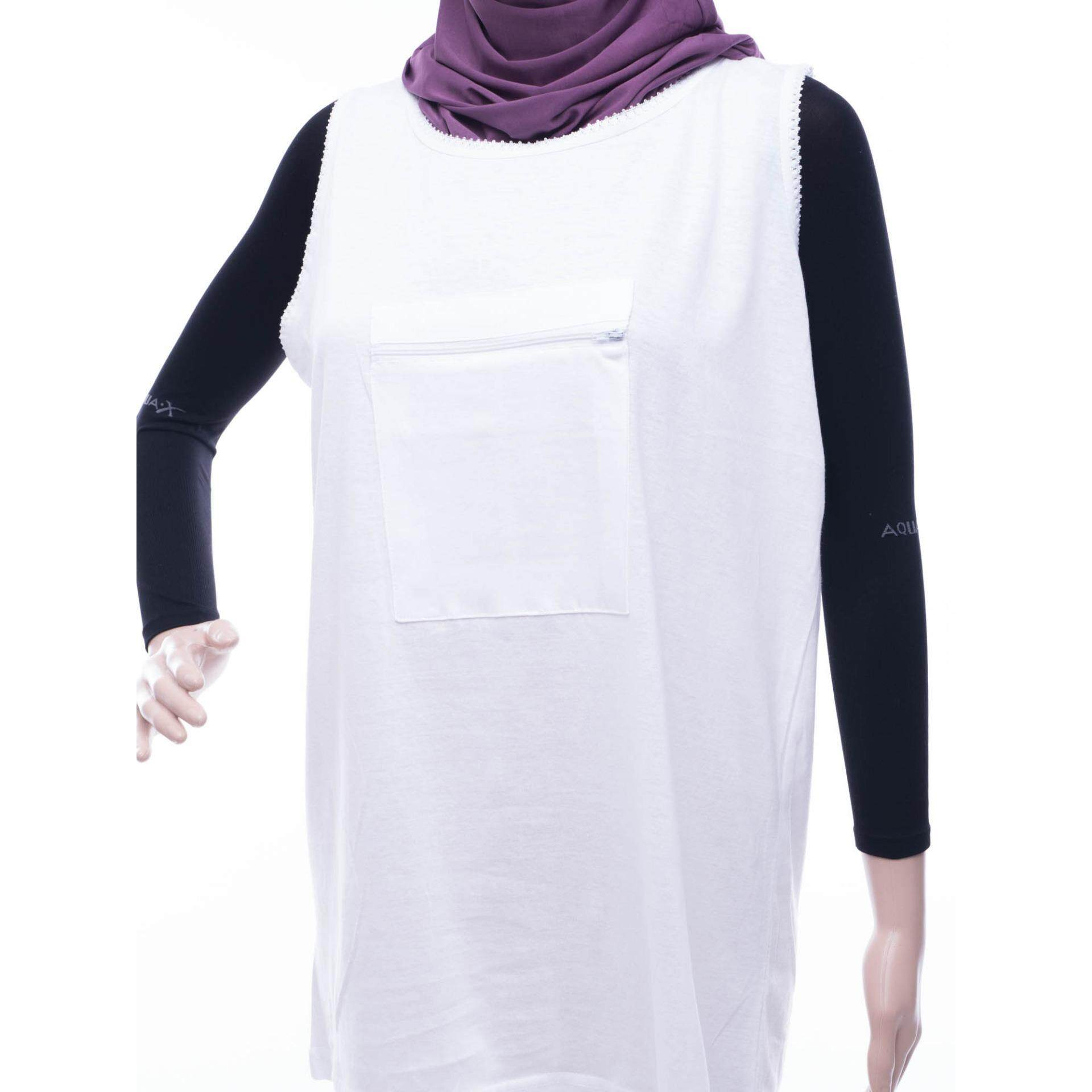 Muslimah Singlet With Zipped Pocket White
