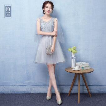 Sisters Korean-style gray New style slimming bridesmaid dress (Gray a paragraph shoulder floating sleeves) (Gray a paragraph shoulder floating sleeves)