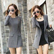 ขาย Slim Charm Korean Fashion Lady Lapel Lightweight Jackets Color Grey ถูก จีน