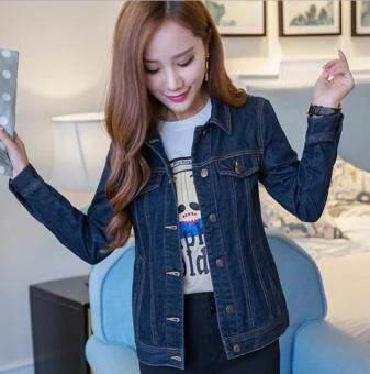Harga Slim thin denim jacket women spring and autumn Korean shortparagraph denim jacket long sleeve -dark blue