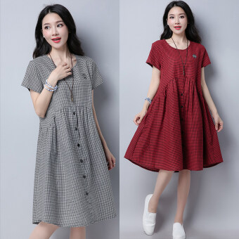 Harga Small Square artistic cotton linen blending Asian short sleeved round neck dress (Red)