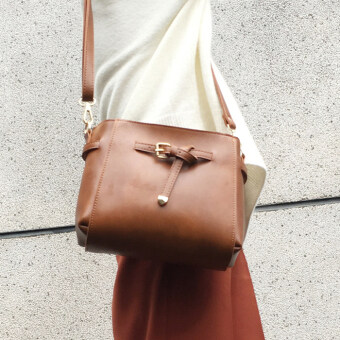 Small Square Korean-style free cross-body small bag Korean-style bag (Yellowish-Brown)
