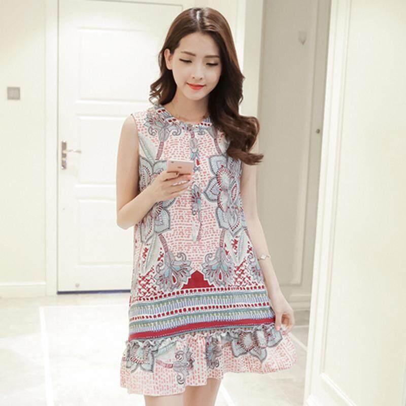 Small Wow Maternity Korean Round Collar Print Sleeveless Chiffon Loose Ruched Dress - intl