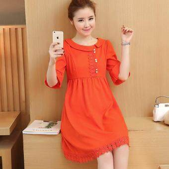 Detail Gambar Small Wow Maternity Korean Round Solid Color Linen Loose Above Knee Dress Orange Terbaru