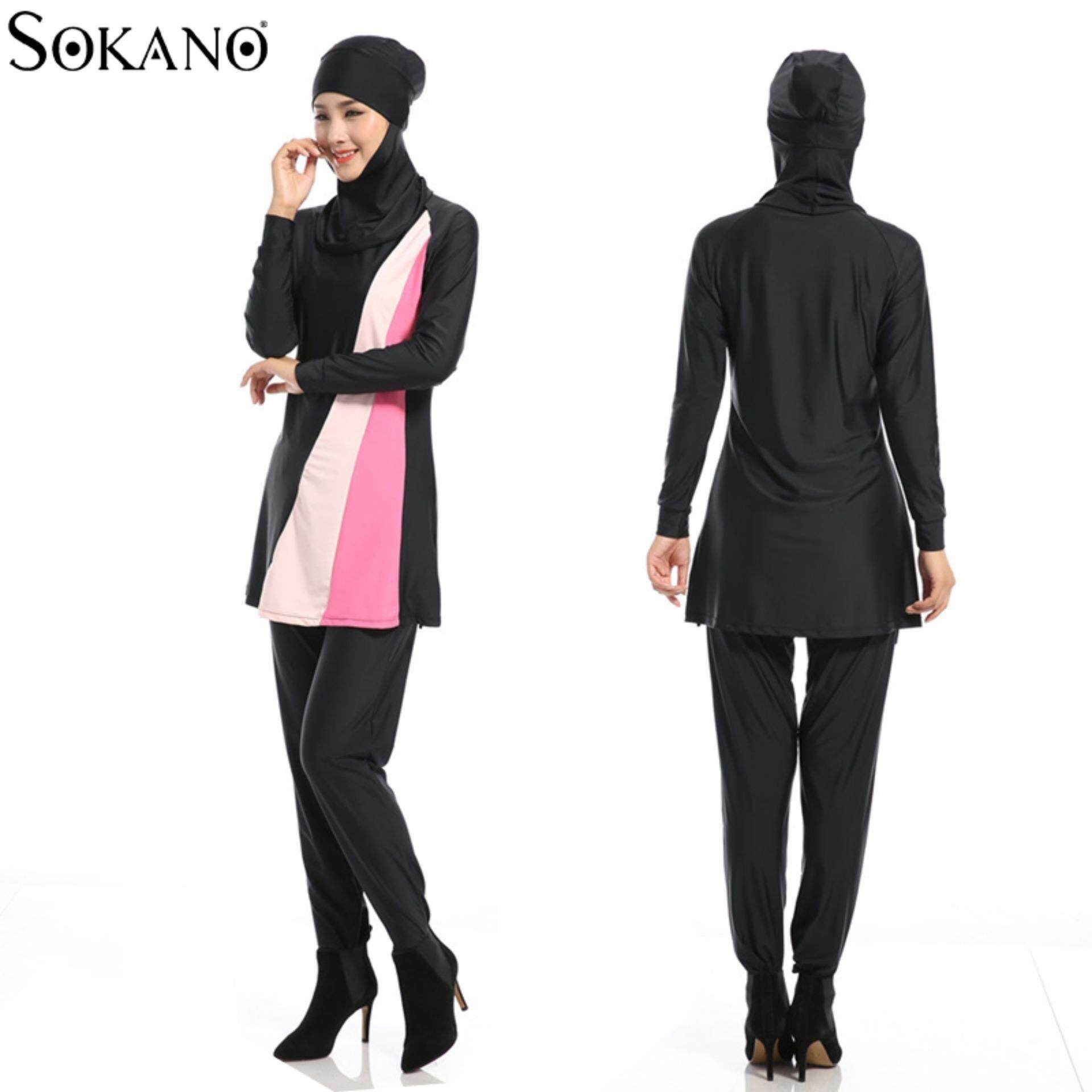 Sokano Fashion Ladies 5587 Muslimah Women Swim Suit Wear Sport Clothing - Black