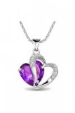 SoKaNo Trendz 925 Silver Fall in Love Necklace JN03 Free Gift Box- Purple