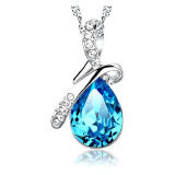 SoKaNo Trendz Australian Crystal Angel's Tear N06 Necklace Free Gift Box- Blue