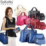 (RAYA 2019) SoKaNo Trendz Elegant Faux Crocodile Leather Bags (Set of 3) Handbeg Wanita- Blue
