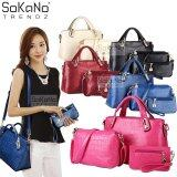 (RAYA 2019) SoKaNo Trendz Elegant Faux Crocodile Leather Bags (Set of 3) Handbeg Wanita- Rose