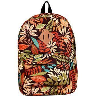 SoKaNo Trendz Floral Design SKN738 Japanese Style Canvas Backpack Orange