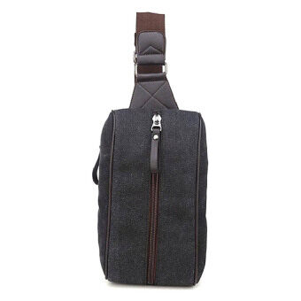 SoKaNo Trendz Korean Style Canvas Chest Shoulder Waist Bag Black