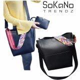 (RAYA 2019) SoKaNo Trendz Korean Style SKN617 PU Leather Shoulder Bag with Colourful Strap (Set of 2) Handbeg Wanita- Black