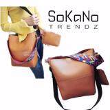 SoKaNo Trendz Korean Style SKN617 PU Leather Shoulder Bag with Colourful Strap (Set of 2)- Brown