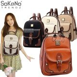 SoKaNo Trendz Korean Style SKN728 PU Leather Backpack- Brown