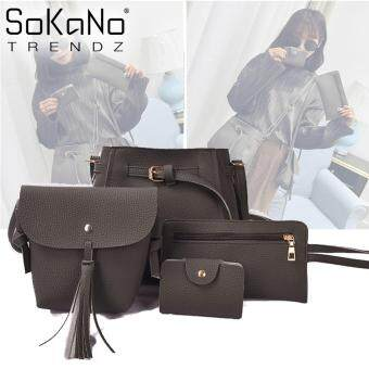 SoKaNo Trendz Korean Style SKN831 PU Leather Tote Bag Set of 4 - Grey