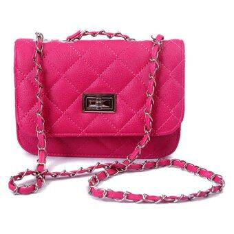 SoKaNo Trendz Lady Quilted Leather Chain Crossbody Bag - Pink