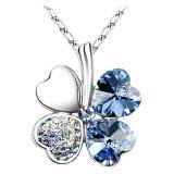 SoKaNo Trendz Lucky Leaf N04 Necklace With Australian Crystal- Blue