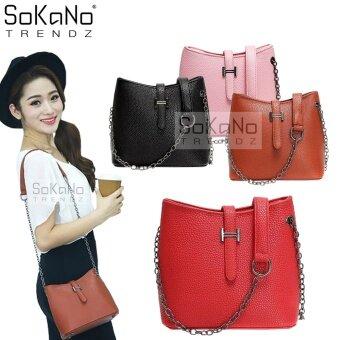 SoKaNo Trendz SKN601 Crossbody Bag with Metal Chain Handbeg Wanita- Red