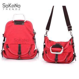 SoKaNo Trendz SKN618 3 Way Use Canvas Shoulder, Crossbody Bag and Backpack- Red