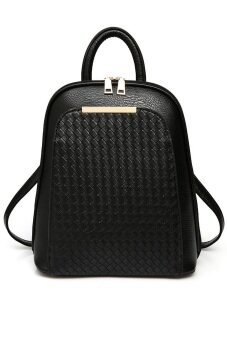 SoKaNo Trendz SKN736 Korean Style PU Leather Double Strap Backpack- Black