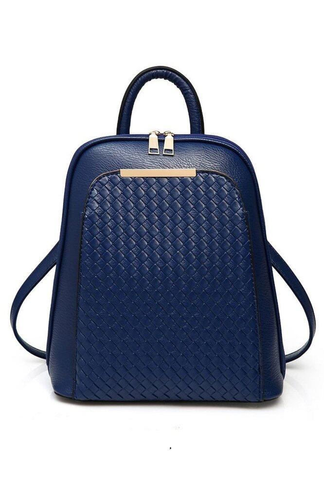 SoKaNo Trendz SKN736 Korean Style PU Leather Double Strap Backpack Handbeg Wanita- Blue