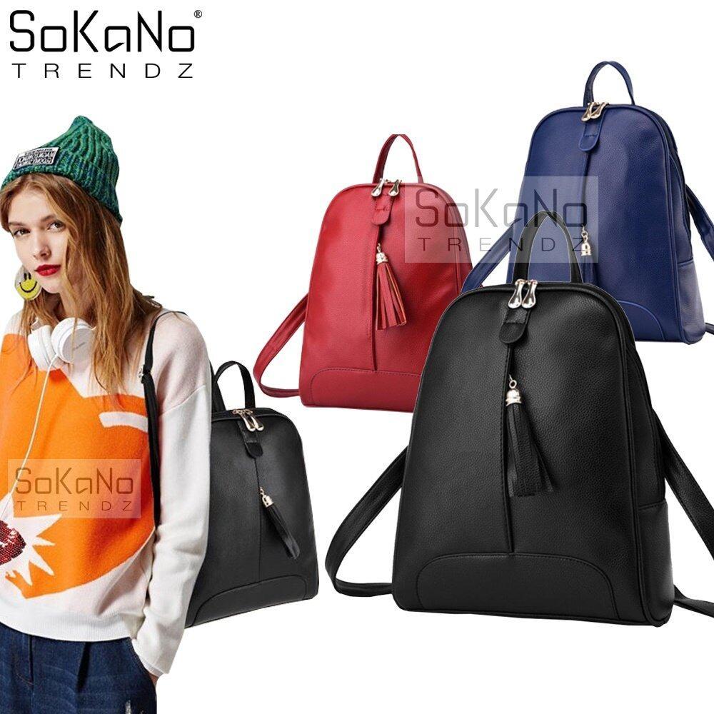 SoKaNo Trendz SKN741 Premium PU Leather Backpack Handbeg Wanita- Black