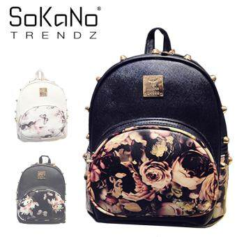 SoKaNo Trendz SKN755 Floral Rivet Design Double Straps PU Leather Backpack - Black Rose Design
