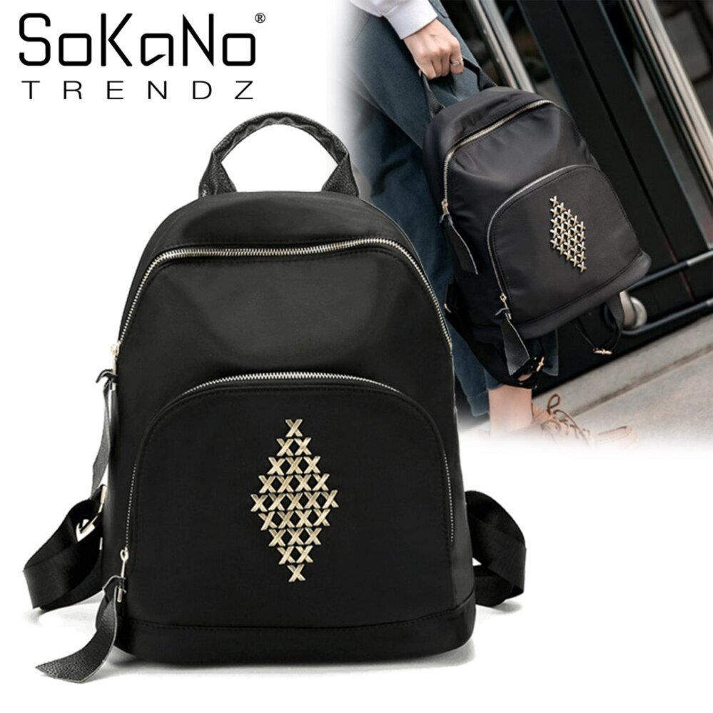 SoKaNo Trendz SKN758 Rivet Nylon Double Straps Backpack- Black