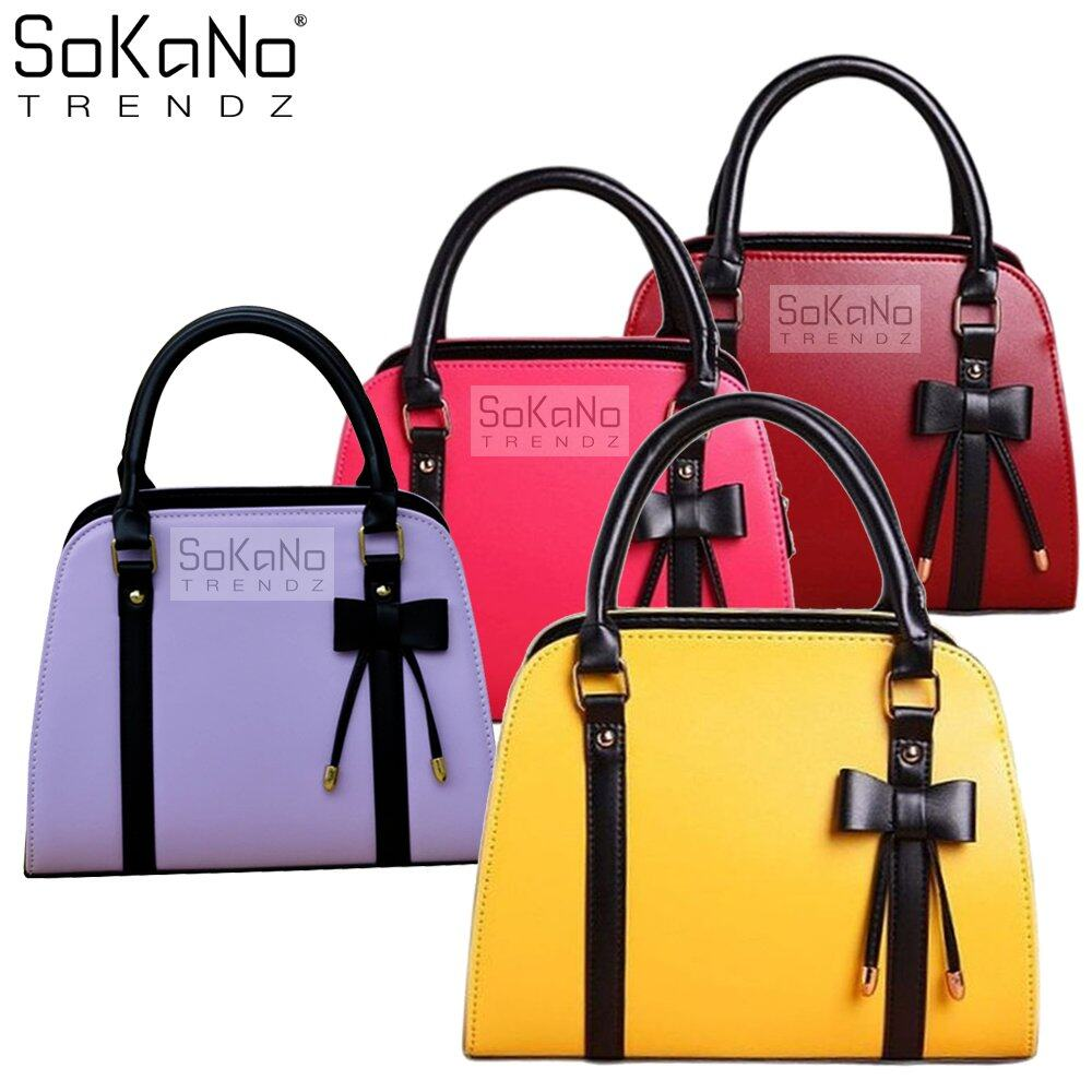 SoKaNo Trendz SKN805 Premium PU Leather Top Handle Bag Handbeg Wanita- Yellow