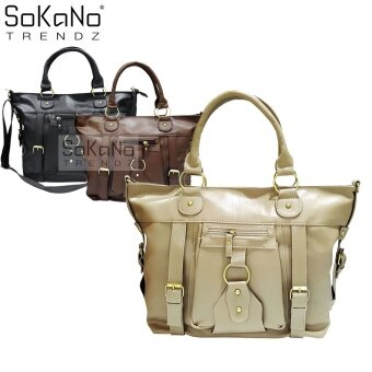 SoKaNo Trendz SKN817 Large Capacity Premium PU Leather Bag- Light Khaki