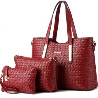 SoKaNo Trendz SKN819 Elegant Knitted PU Leather Bags (Set of 3)- Red