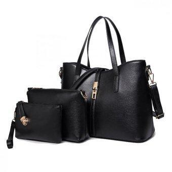 SoKaNo Trendz SKN820 3in1 Trendy Premium PU Leather Elegant Tote Bag Set_Black