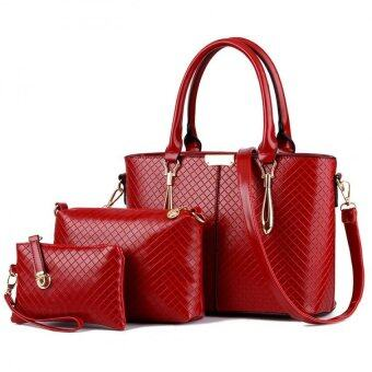 SoKaNo Trendz SKN823 Classic Premium PU Leather Elegant Tote Bag Set of 3- Red