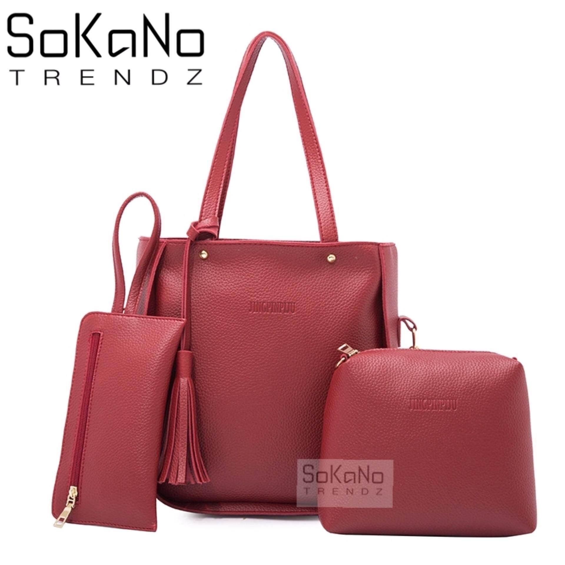 SoKaNo Trendz SKN825 PU Leather Tote Bag Set of 3 Handbeg Wanita- Red