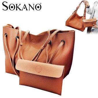 SoKaNo Trendz SKN829 2 in 1 Classic Style Shoulder Tote Bag Handbag - Brown