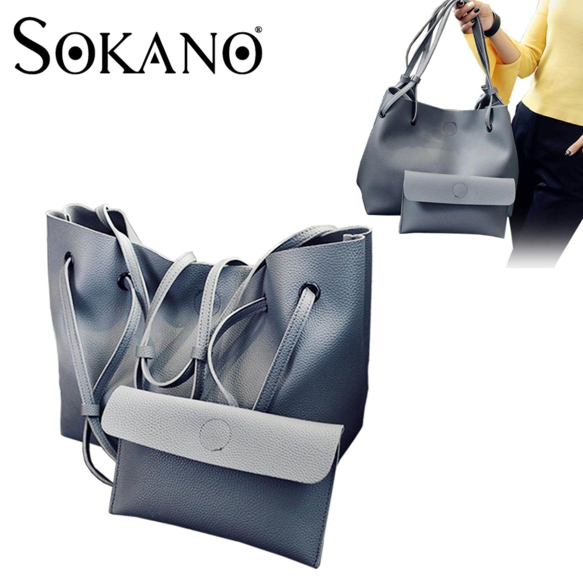 SoKaNo Trendz SKN829 2 in 1 Classic Style Shoulder Tote Bag Handbag Handbeg Wanita- Grey
