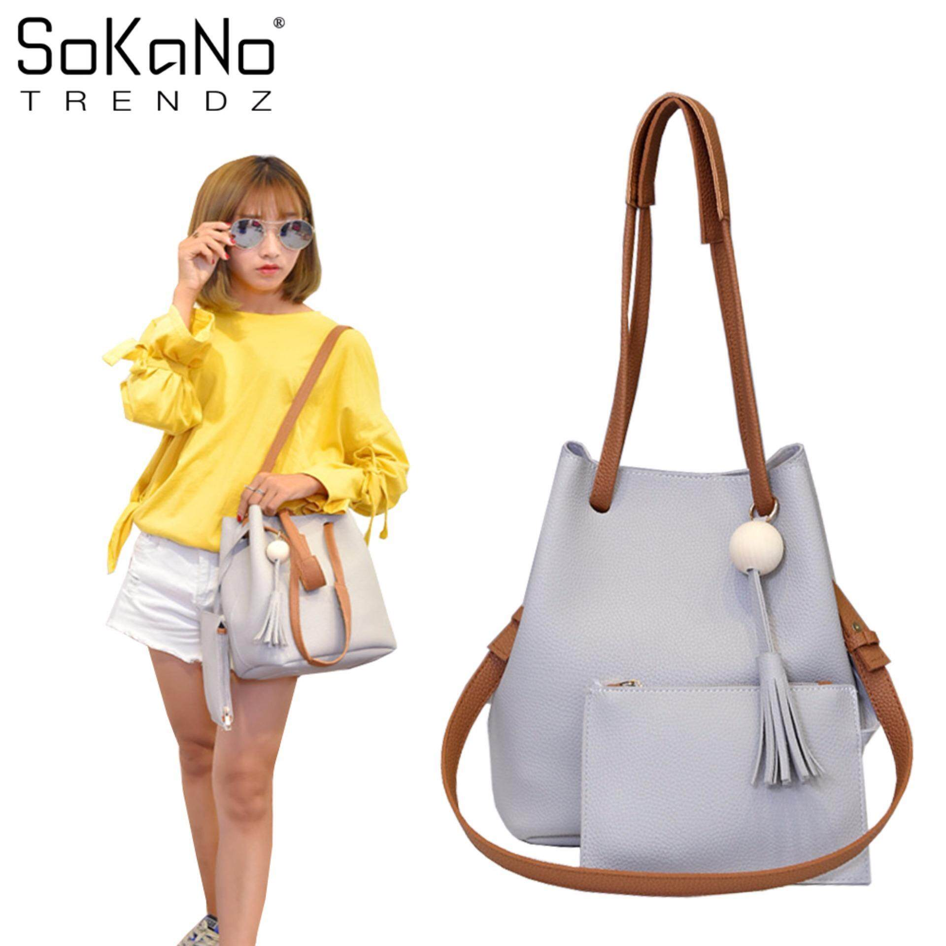 SoKaNo Trendz SKN830 Set of 2 PU Leather Bucket Shoulder Bag with Long Strap Handbeg Wanita - Grey