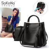 (RAYA 2019) SoKaNo Trendz SKN833 2 in 1 Korean Style Shoulder and Cross Body PU Leather Bag Handbeg Wanita- Black