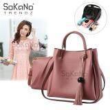 (RAYA 2019) SoKaNo Trendz SKN833 2 in 1 Korean Style Shoulder and Cross Body PU Leather Bag Handbeg Wanita- Pink