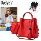 (RAYA 2019) SoKaNo Trendz SKN833 2 in 1 Korean Style Shoulder and Cross Body PU Leather Bag Handbeg Wanita- Red