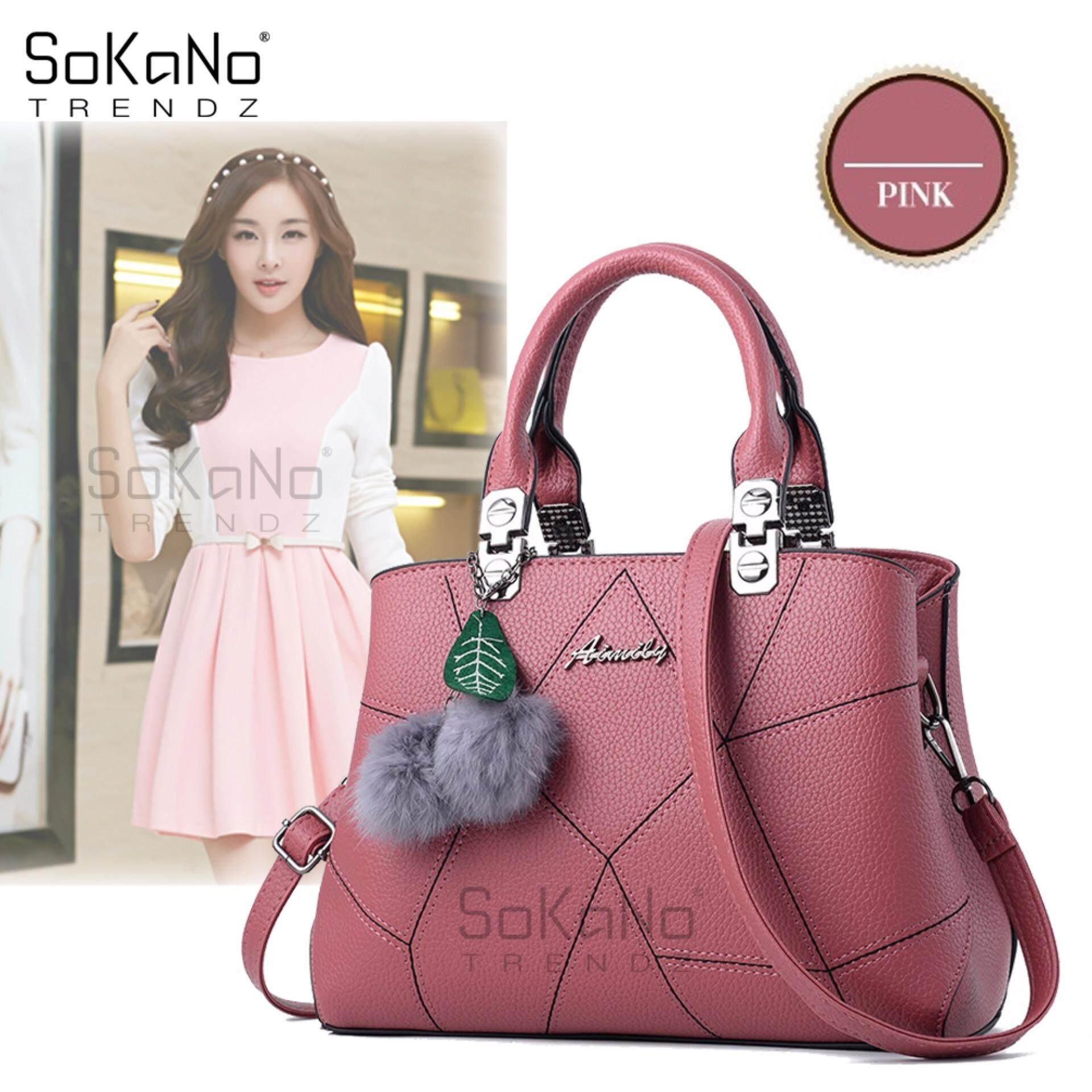 SoKaNo Trendz SKN836 Korean Style Shoulder PU Leather Tote Bag Handbeg Wanita- Pink