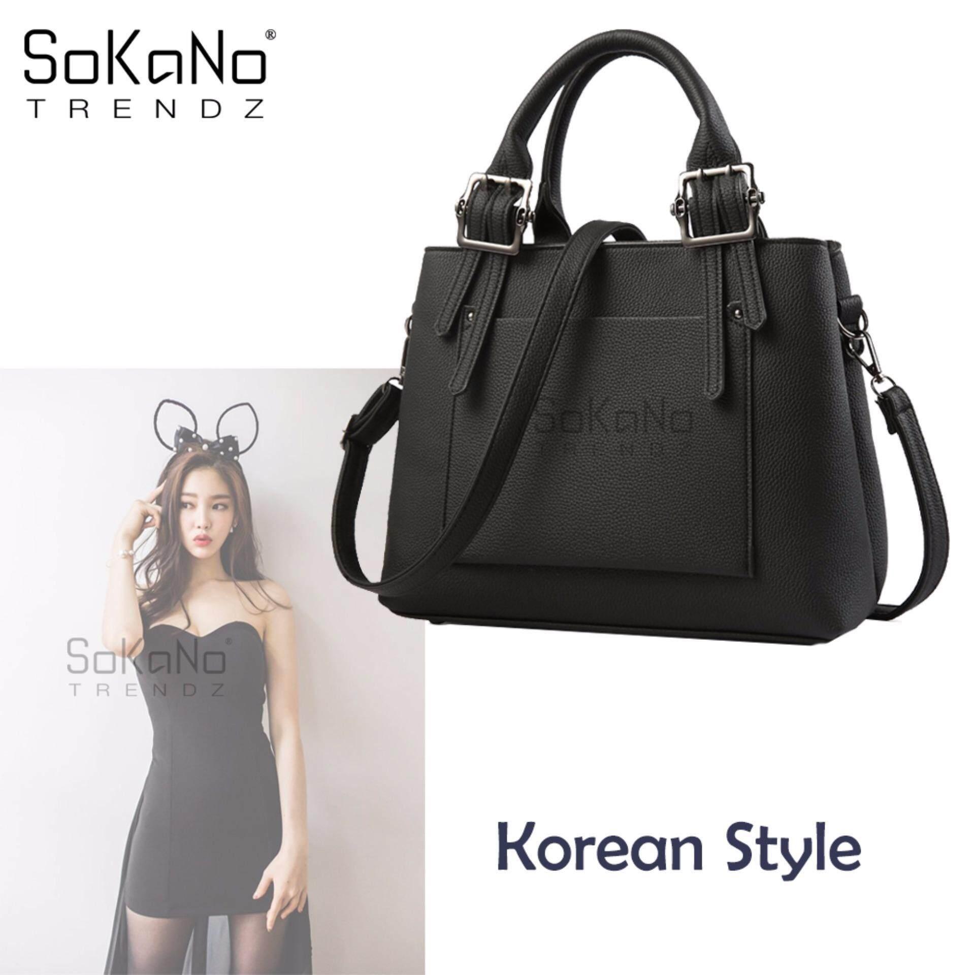 SoKaNo Trendz SKN838 Korean Style Shoulder PU Leather Tote Bag Handbeg Wanita- Black