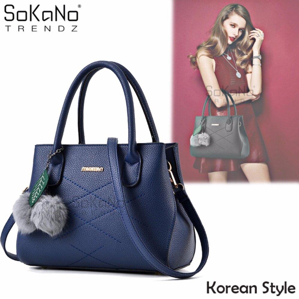 SoKaNo Trendz SKN839 Korean Style Elegant Shoulder PU Leather Tote Bag Handbeg Wanita- Blue