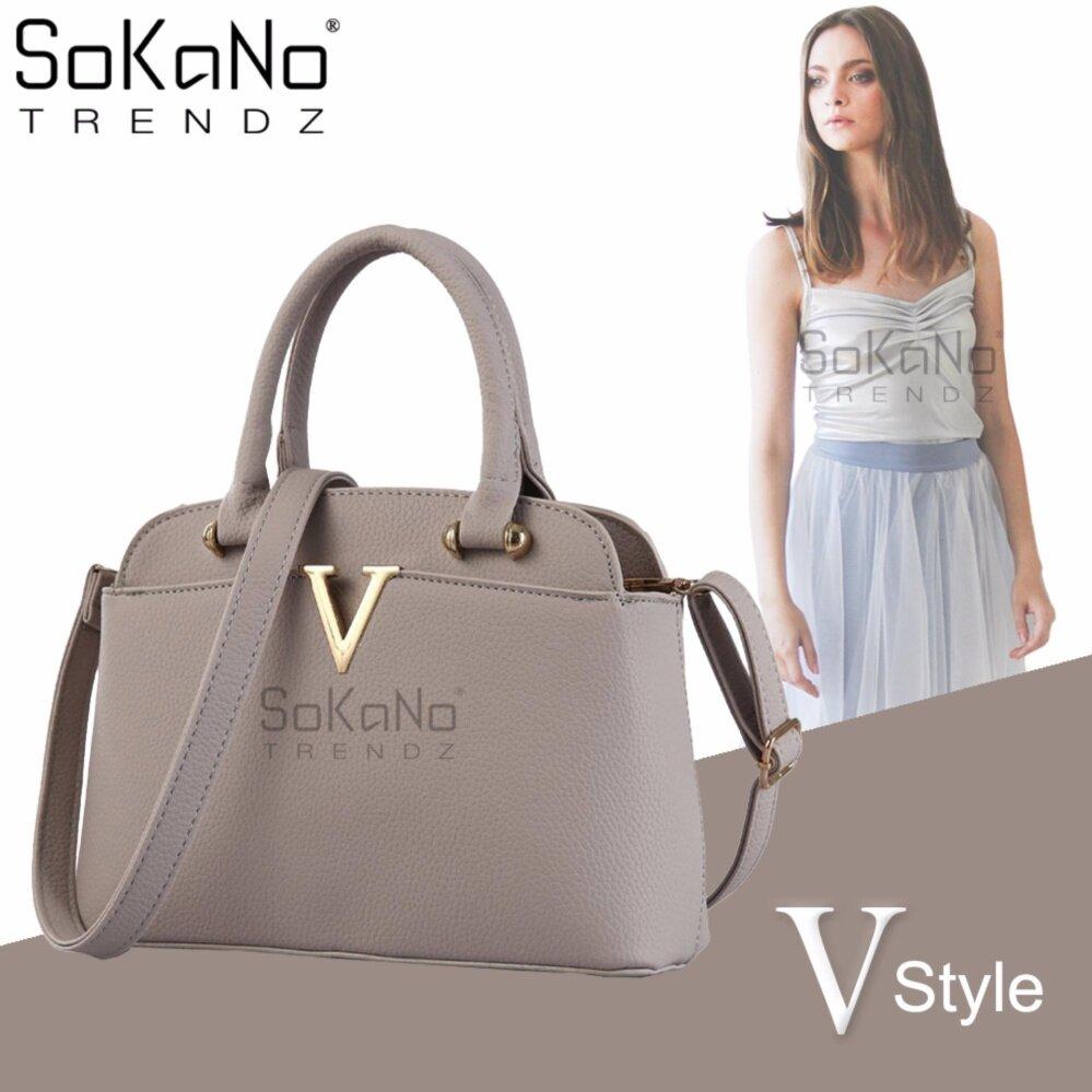 SoKaNo Trendz SKN840 V Style Korean Style Elegant Shoulder PU Leather Tote Bag Handbeg Wanita- Grey