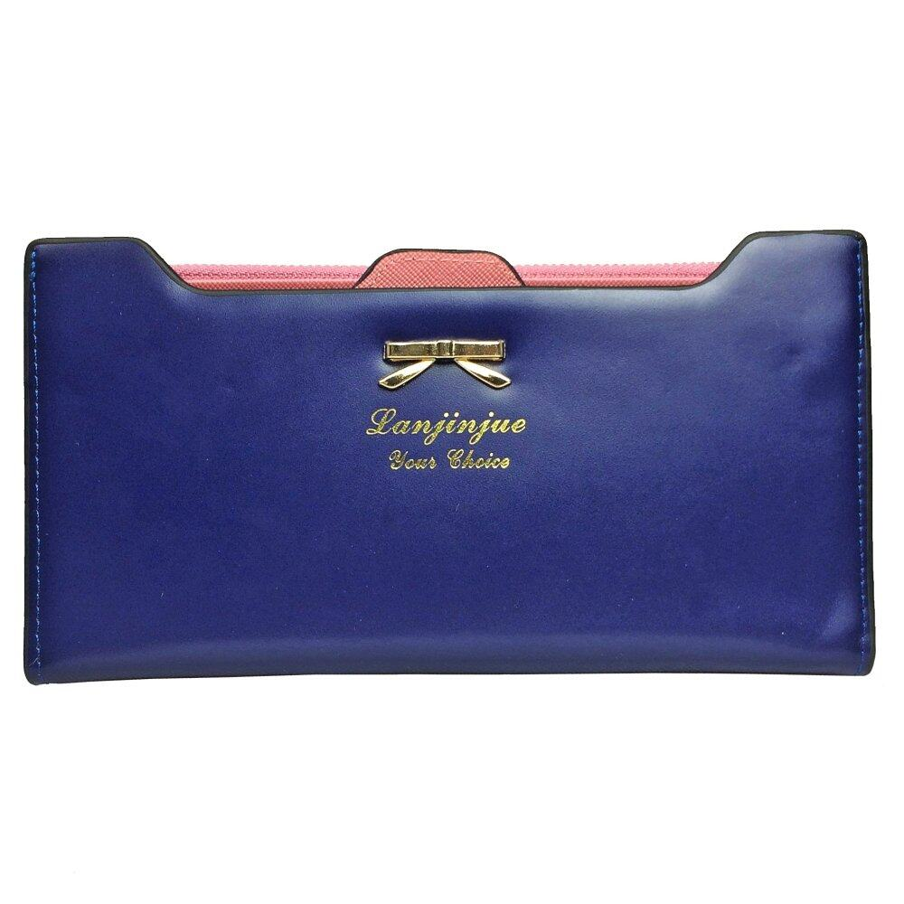 SoKaNo Trendz SKN905 Premium Women Long Wallet with Detachable Card Slots Handbeg Wanita- Dark Blue