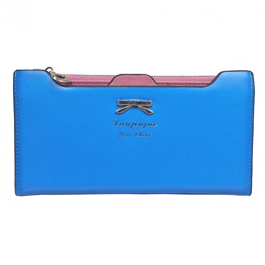 SoKaNo Trendz SKN905 Premium Women Long Wallet with Detachable Card Slots Handbeg Wanita- Light Blue