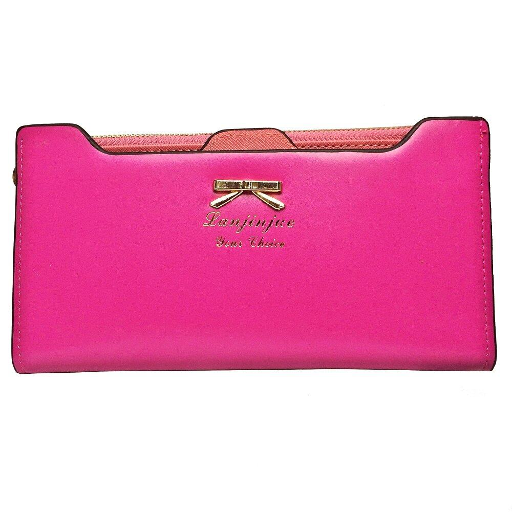 SoKaNo Trendz SKN905 Premium Women Long Wallet with Detachable Card Slots Handbeg Wanita- Rose Red