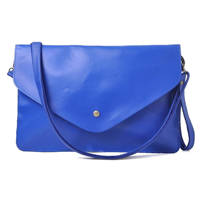 SoKaNo Trendz Vintage Style PU Leather Envelope Clutch Handbeg Wanita- Blue