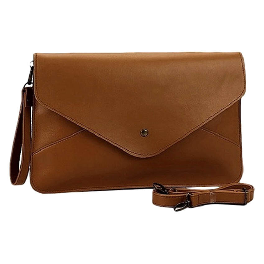 SoKaNo Trendz Vintage Style PU Leather Envelope Clutch Handbeg Wanita- Dark Brown
